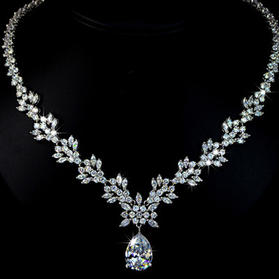 Bridal Collection - 18K White Gold Plated Pear Shaped Swiss Cubic Zirconia Jewellery Set