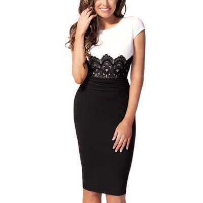 Scoop Neck Contrast-waist with Embroidered Lace Bodycon Dress