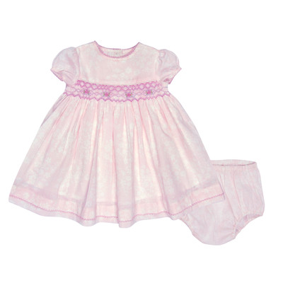 Imee Infant Smocked Lawn Dress in Pink