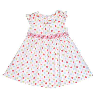 Irona Smocked Crosshatch Dress in White