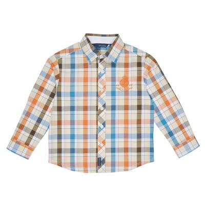 Rash Long Sleeve Checkered Polo in Orange and Blue