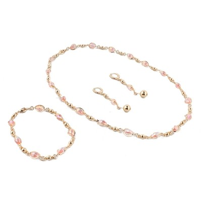 Golden Chain with Pink details  Necklace With Earring Set