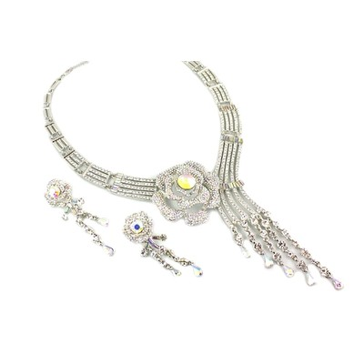 Elegant crystal white flower with drops  Necklace with Earring Set