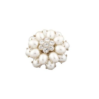 White pearl flower brooch