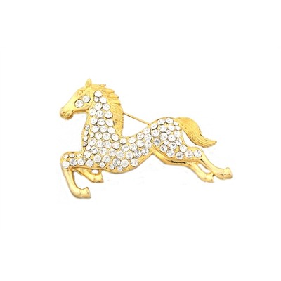 Golden Horse with crystal details brooch