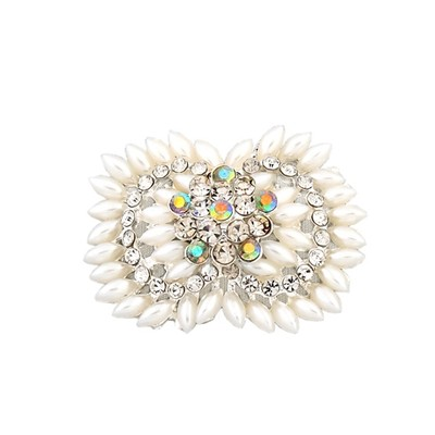 White oval pearl brooch with crystal flower detail