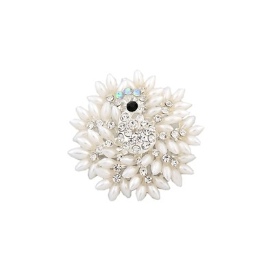 Fantastic White with crystals brooch