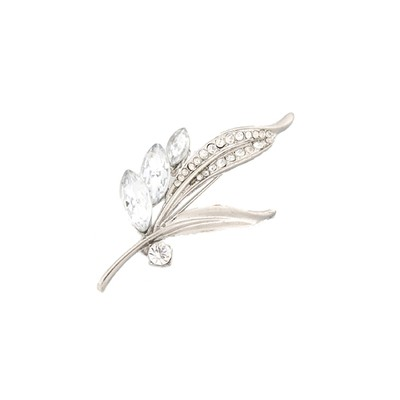 Simple and Cute leaf with crystals and rhinestones brooch