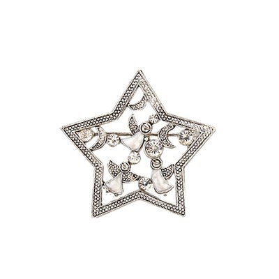 Silver star with flying angels brooch