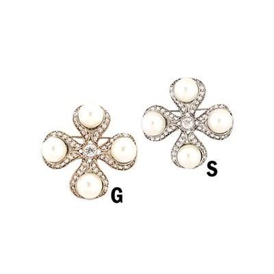 4 pearls mini cross rhinestone brooch in various colors