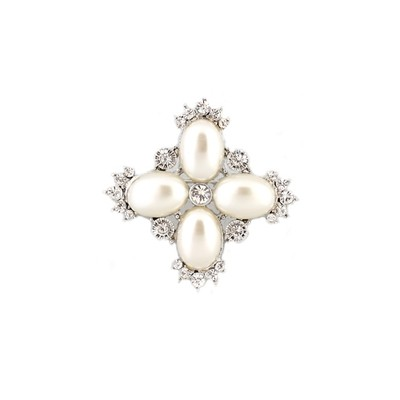 Mini cross shaped pearls and crystals brooch