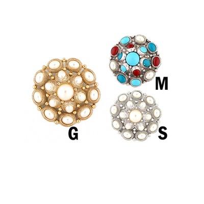 Circular pearls  brooch in various colors