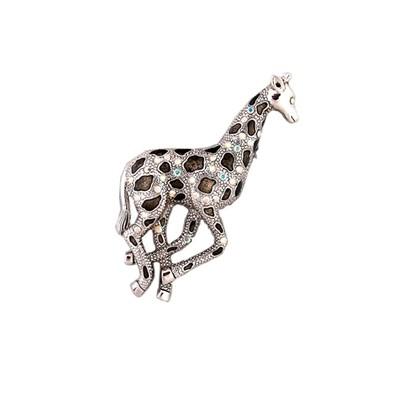 Exciting precious stones giraffe brooch