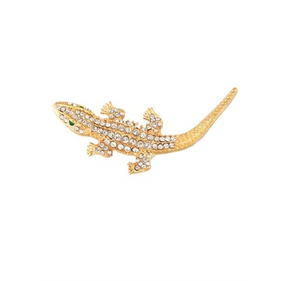 Golden Alligator brooch with crystals