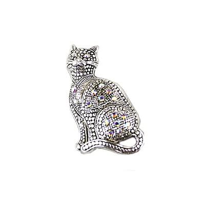 Elegant Silver Cat Brooch