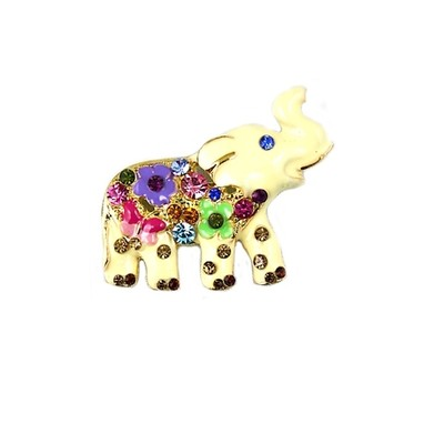 Fun Golden with colorful details elephant brooch