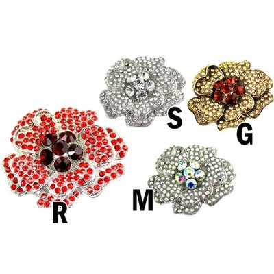Fabulous flower brooch with crystals in various colors