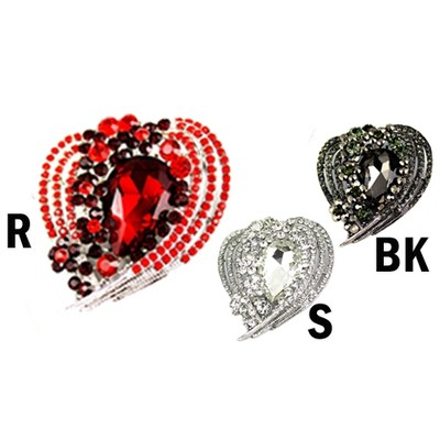 Heart and stone rhinestone brooch in various colors
