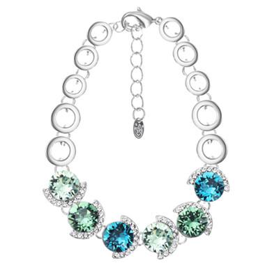 14K Gold Plated Swarovski Elements Blue-Green Bracelet