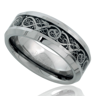 Eliza Tungsten Carbide, 8mm Polished Ring With Epoxy Center Inlaid With Scroll Design