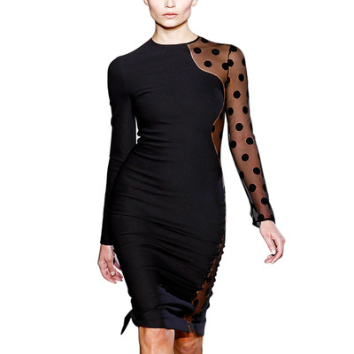 Contrast Mesh With Polka Dot Long Sleeves Pencil Elegant Dress