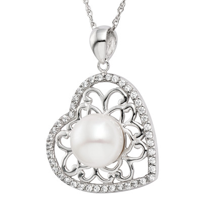 Pearlyta Sterling Silver Freshwater Pearl Heart Necklace 9-10mm