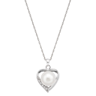 Pearlyta Sterling Silver Freshwater Pearl and CZ Heart Necklace 10-11mm