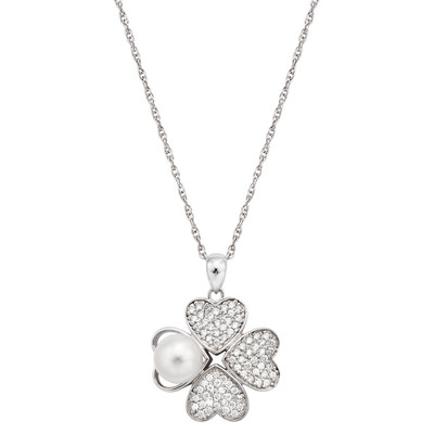 Pearlyta Sterling Silver Heart Shaped CZ and Pearl Clover Flower Pendant Necklace 8-9mm