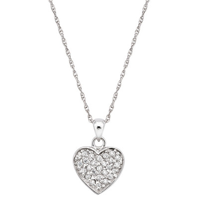 Pearlyta Sterling Silver Cubic Zirconia Heart Necklace