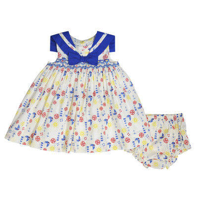 Hermina Infant Smocked Sailor Dress w/ Panty in Ecru
