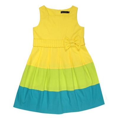 Herminie Sleeveless Poplin Dress w/Ribbon in Yellow