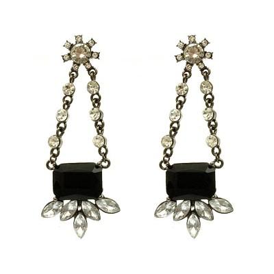 2.75 Inch Shourouk Black Glass Bead Earrings