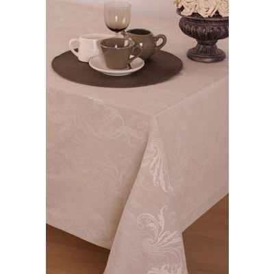 St. Pierre Grandola Linen/Cotton Tablecloth, Ecru