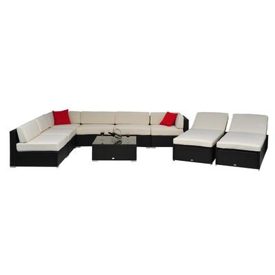 Deluxe 9 pc. Wicker Rattan Patio Furniture Sofa Lounger Set Sectional Collection