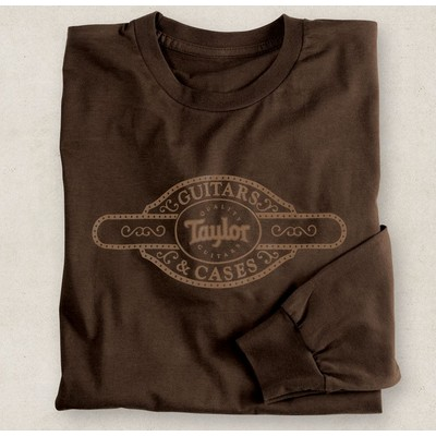 Taylor Case Label Long Sleeve T-Shirt - Brown, Medium - Taylor Guitars - Taylorware, Home and Gifts - 20815