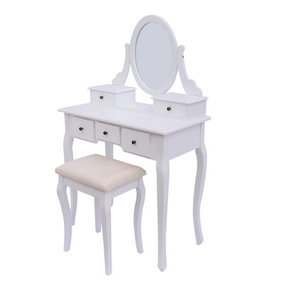 Vintage Makeup Table With Mirror and Stool White