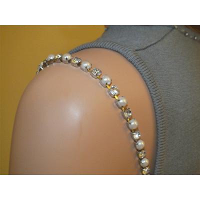 White Imitation Pearl Shape-Rhinestones Bra Straps Item # 1007
