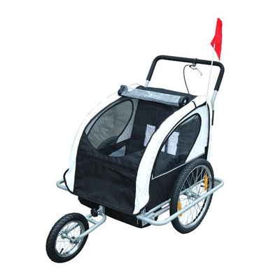 2 in 1 Children's Bicycle Trailer & Stroller - Black/White