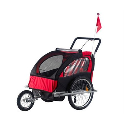 2 in 1 Children's Bicycle Trailer & Stroller - Black/Red