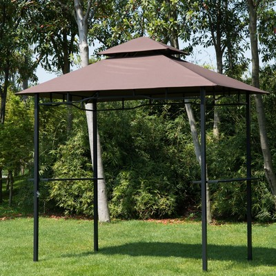 8' x 5' Fire-Proof Gazebo Canopy - Brown