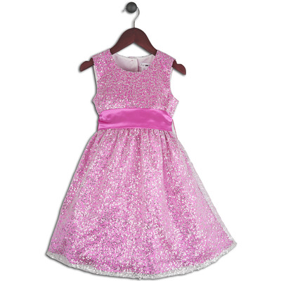 Joe-Ella 1pc Girls' Sequinned Dress with Satin lining and Sash