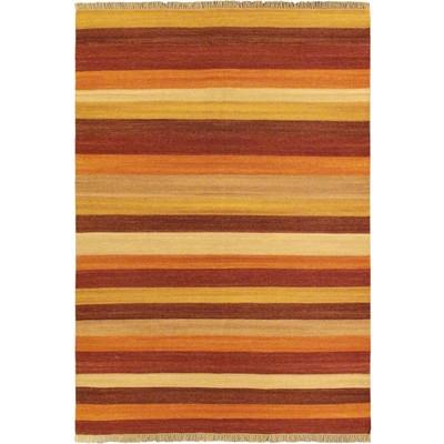 """eCarpetGallery Flat-weave Fiesta Dark Orange Kilim - 5'7"""" x 7'10"""""""
