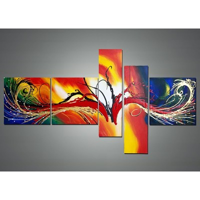 Hand Painted Abstract Multi-Color Painting - 66 x36 in