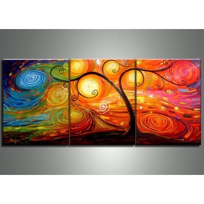Psychedelic Modern Tree Painting - 60 x 24 in - 3 Panels