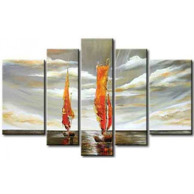 Seascape Boat Oil Painting on Canvas- 57 x 36 in