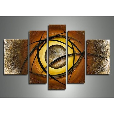 Textured Abstract Eye Oil Painting on Canvas - 57 x 36 in