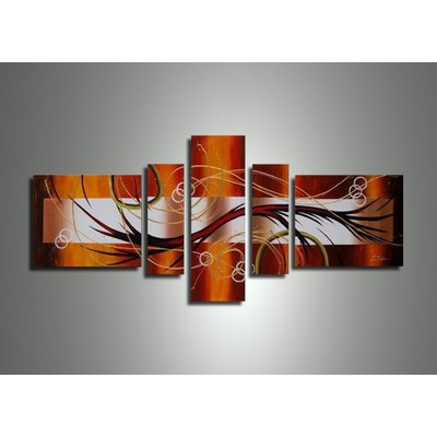 Brown Abstract Oil Painting in Canvas-62 x 30in