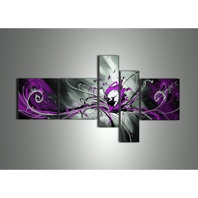 Abstract Purple Splash Canvas Painting -  64 x 32 in