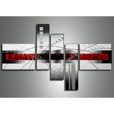 Large Red Modern Painting - Black And Red Abstract Wall Art  - 63 x 37in