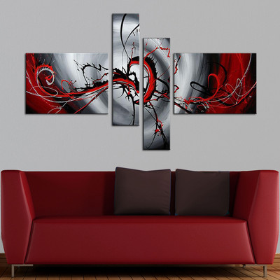 Abstract Red Painting - Large Multipanel Painting  - 64 x 34in